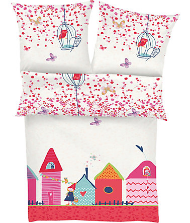 Kinderbettwäsche, s.Oliver RED LABEL Junior, »Village«, mit kleinem Dorf - multi - Renforcé - 1x40x60cm - 1x100x135cm