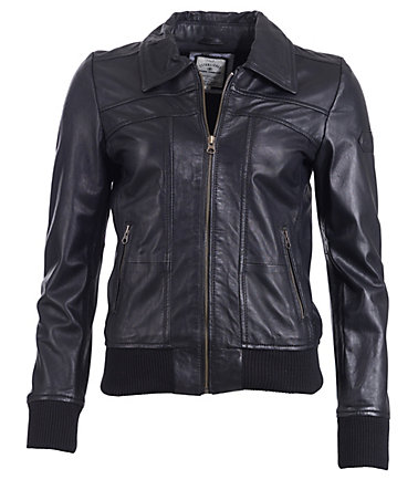 TOM TAILOR Lederjacke, Damen - black - M0