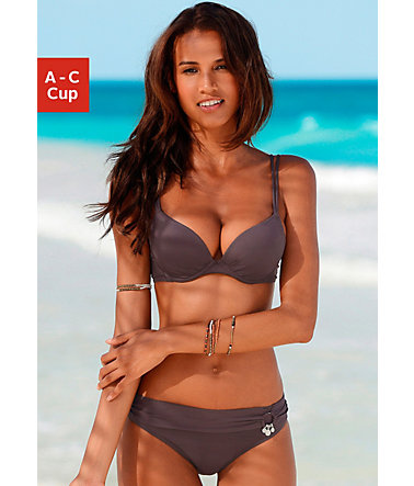 s.Oliver RED LABEL Beachwear Push-up-Bikini mit Zierring an der Hose - braun - 34(65)34 - CupC