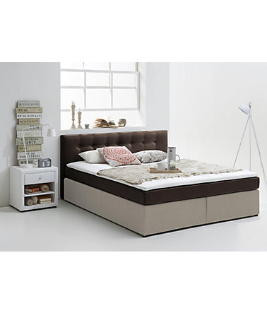 Boxspringbett inkl. Topper, Atlantic Home Collection - 1(=braun-beige) - Liegefläche90/200cm