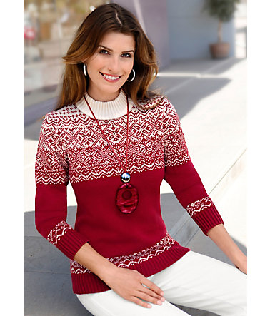 Collection L. Pullover mit aktuellem Norwegermuster - rot-wollweiß - 3636