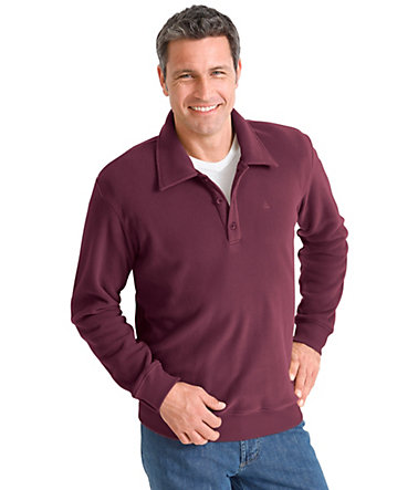 Catamaran Fleece-Shirt mit Polokragen - bordeaux - 44/4644