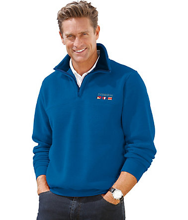 Catamaran Fleecepullover mit Stickerei - royalblau - 44/4644