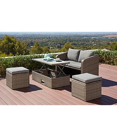 gartenm belset lagos 10 tlg 2er sofa 2 hocker tisch 111x57 cm polyrattan. Black Bedroom Furniture Sets. Home Design Ideas
