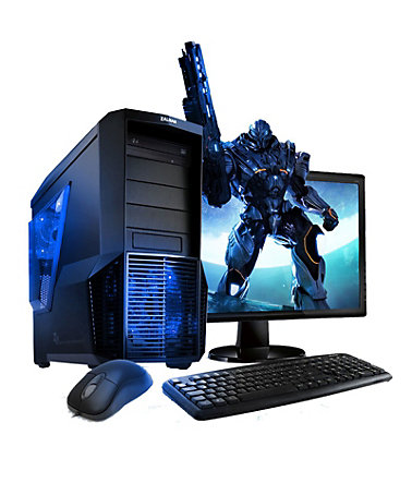 "VCM Gaming PC Set / Intel Core i3-7100 (2x 3.9 GHz) / »Intel HD / Windows 10 / 22"" TFT« - schwarz/blau"