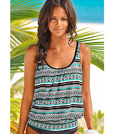 LASCANA Tankini-Top »Wintu« - schwarz-mint - 3636