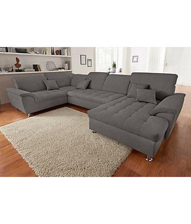 wohnlandschaft wahlweise mit bettfunktion und kopfteilverstellung wohnlandschaften. Black Bedroom Furniture Sets. Home Design Ideas