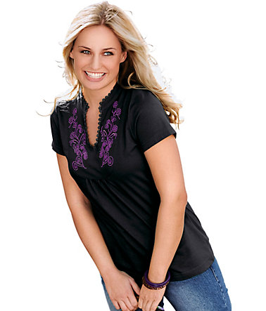 Classic Basics Shirt mit filigraner Stickerei - schwarz - 3838