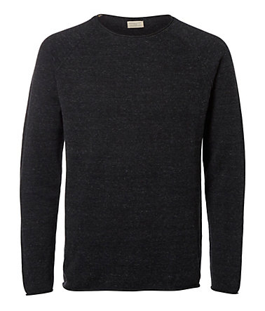 Selected Homme Rundhalsausschnitt - Grobstrickpullover - Antracit - L0