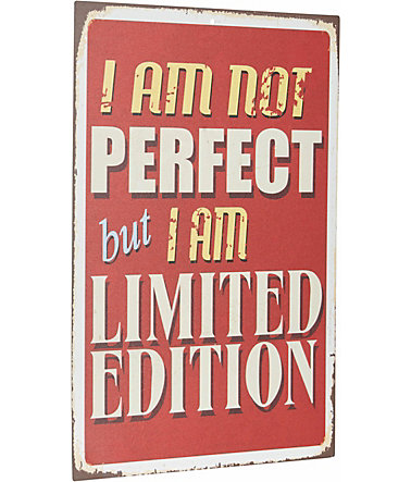 Home affaire Stahlschild »I am not perfect …«, Maße (B/H): ca. 30/45 cm - braun/beige
