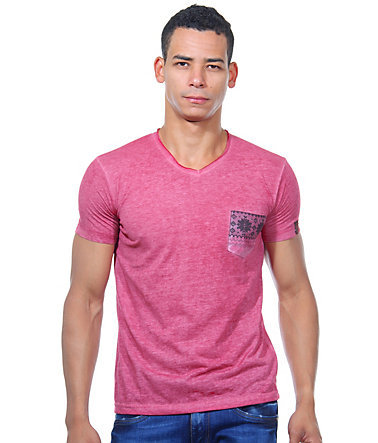 R-NEAL T-Shirt V-Ausschnitt slim fit - bordeaux - L0
