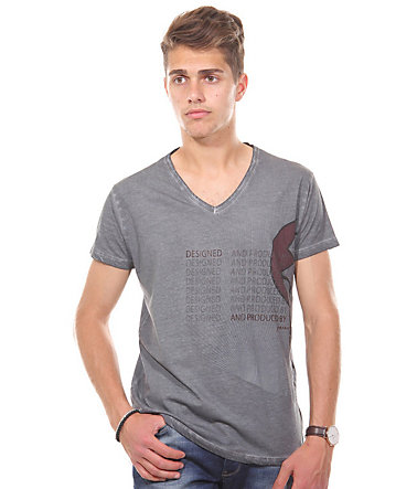 JENERIC T-Shirt V-Ausschnitt regular fit - anthrazit - L0
