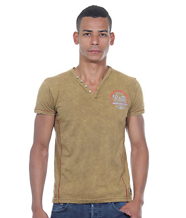 R-NEAL Henley T-Shirt slim fit - camel - L0