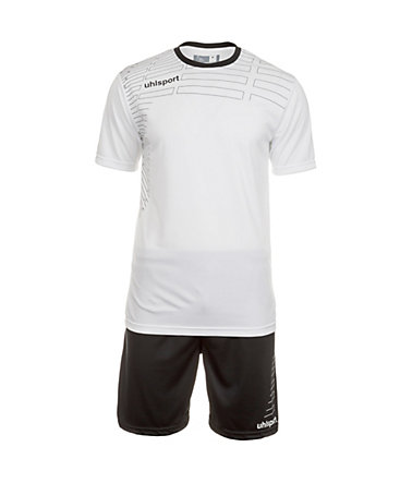 UHLSPORT Match Team Kit Shortsleeve Kinder - weiß/schwarz - S-1640
