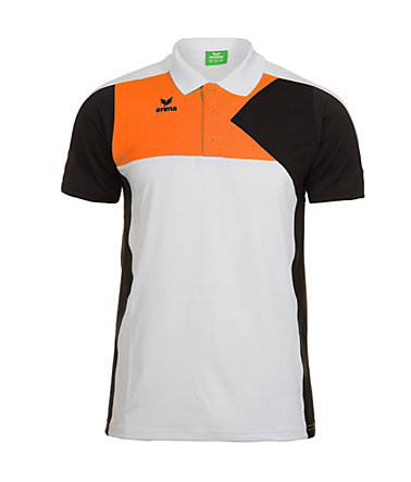 ERIMA Premium One Poloshirt Kinder - weiß/schwarz/orange - 0(128)0