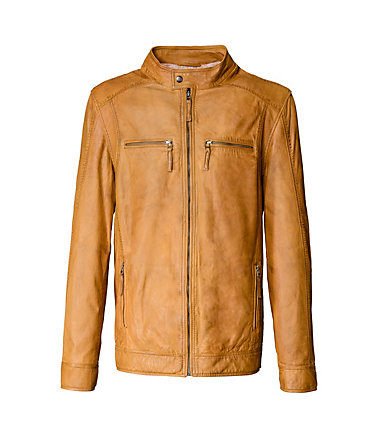 TOM TAILOR Lederblouson, Herren »Chiesa« - cognac - 4848