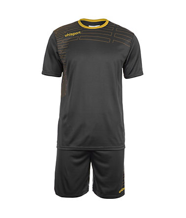 UHLSPORT Match Team Kit Shortsleeve Kinder - schwarz/gold - S-1640