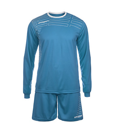 UHLSPORT Match Team Kit Longsleeve Kinder - cyan/weiß - S-1640