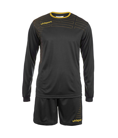 UHLSPORT Match Team Kit Longsleeve Kinder - schwarz/gold - S-1640