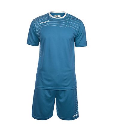UHLSPORT Match Team Kit Shortsleeve Herren - cyan/weiß - L-520
