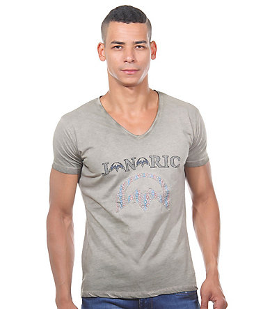JENERIC T-Shirt V-Ausschnitt regular fit - khaki - L0
