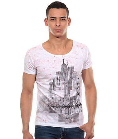 R-NEAL T-Shirt Rundhals slim fit - weiss/rot - L0