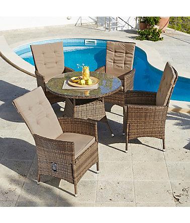 Gartenmöbelset »Santiago Deluxe«, 9-tlg., 4 Sessel, Tisch Ø 100 cm ...
