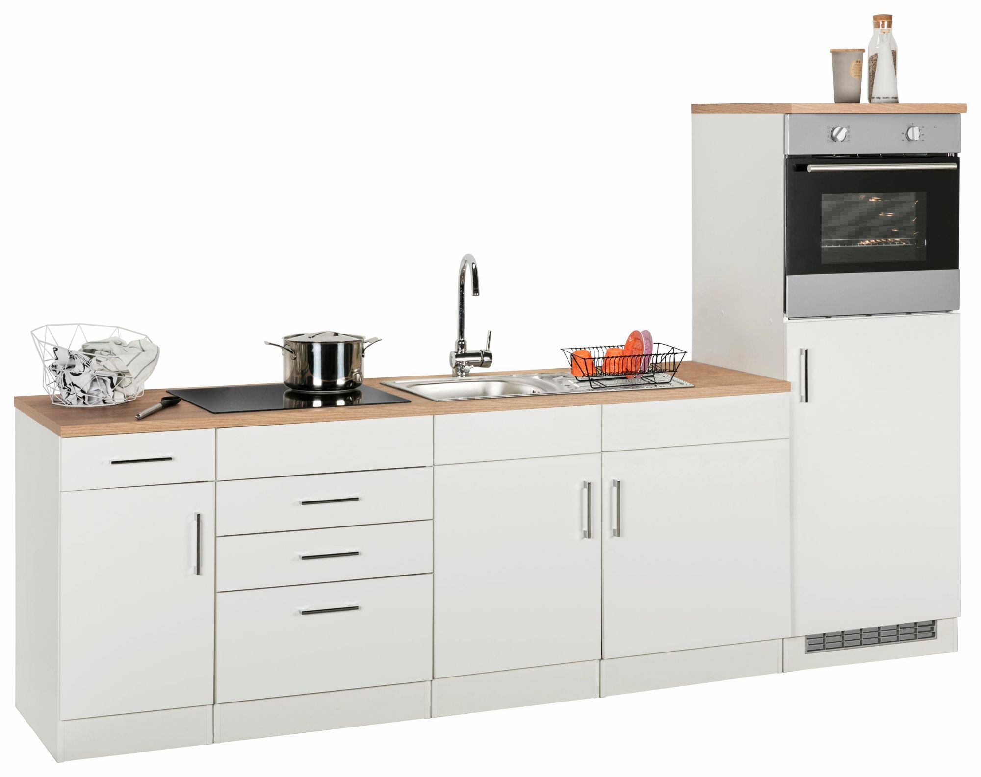 Held möbel küchenzeile mit e geräten wels breite 270 cm weiß