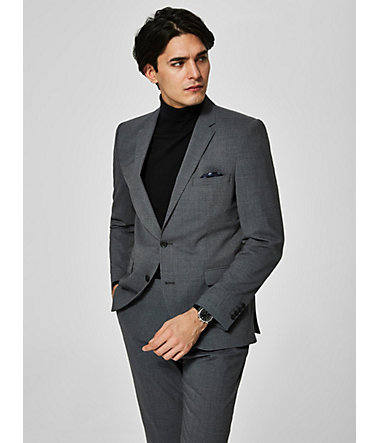 Selected Homme Slim-Fit-Blazer mit Innentaschen - GREY. - 102102