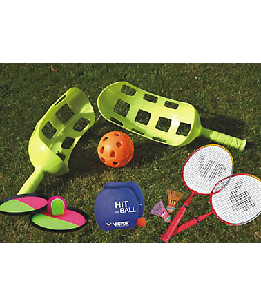 SET: Fun Set, enthält Scoop Ball Set, Magic Catchball Set, Hitball-Set + Mini-Badminton-Set, Victor -