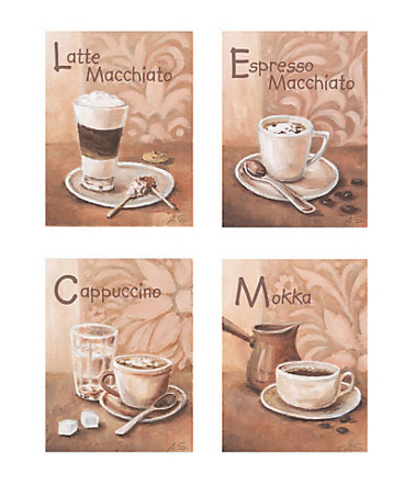 Home affaire SET: Wandbild-Set »Kaffeevariationen I«, 4x 17/23 cm  -