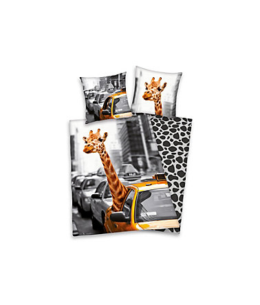 Wendebettwäsche, Young Collection, »New York Safari«, mit Giraffe - grau - Linon - 1x80x80cm - 1x135x200cm