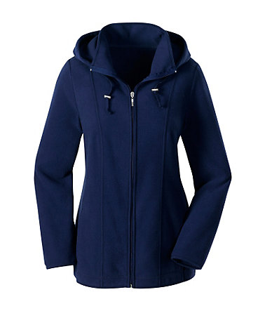 Collection L. Fleece-Jacke mit abnehmbarer Kapuze - marine - 3636