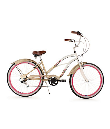 Beachcruiser Damen, KS Cycling, »Cherry Blossom«, 26 Zoll 6 Gang Shimano Tourney, V-Brakes - bronze - RH42cm