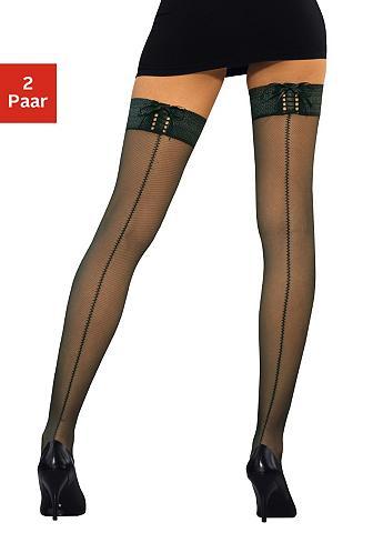LASCANA Halterlose kojinės (2 poros) su raište...