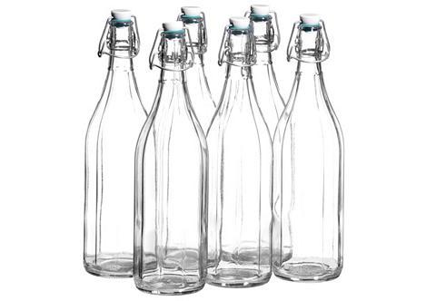Stikliniai buteliai su keramikiniu kam...