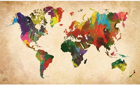 HOME AFFAIRE Paveikslas »Weltkarte in Farben« Stran...