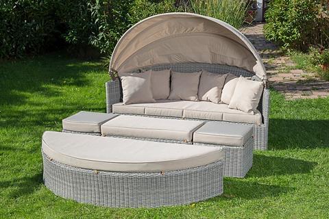 MERXX Sodo sofa-lova Polyrattan grau ir atra...