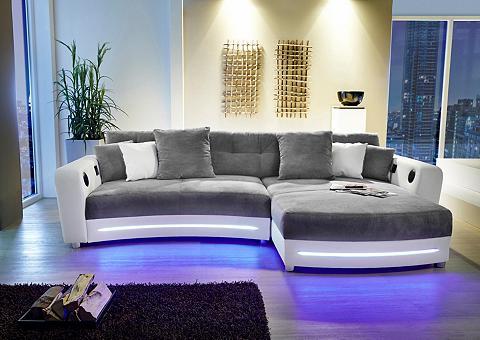 Kampinė sofa su LED apšvietimas ir Blu...