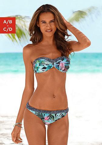 Bikini maudymosi kostiumėlis su gėlių ...