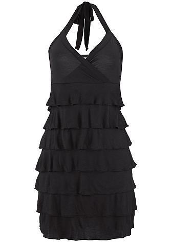 Trumpas suknelė rišama per kaklą