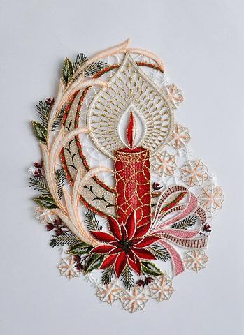STICKEREIEN PLAUEN Lango dekoracija »Fensterbild Kerze« E...