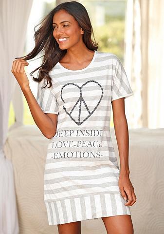 Dryžuota naktiniai marškiniai su širdi...