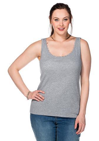 Marškinėliai be rankovių su nėrinių