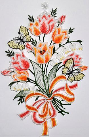 STICKEREIEN PLAUEN Lango dekoracija »Fensterbild Blüten« ...