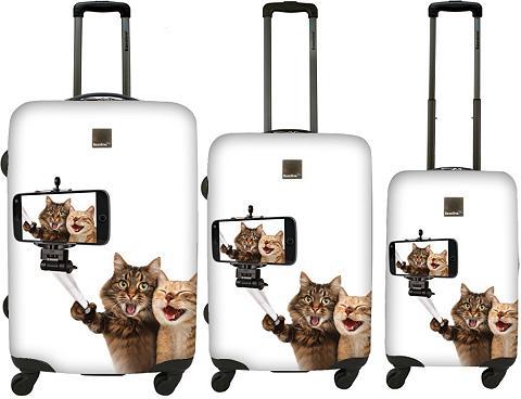 Plastikinis lagaminas rinkinys su 4 ra...