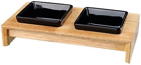 Fressnapf-Set Keramik/Holz 2 x 200 ml