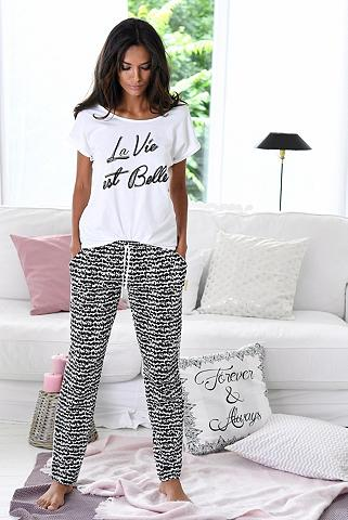 S.OLIVER RED LABEL Bodywear pižama im juodai-baltos spalv...