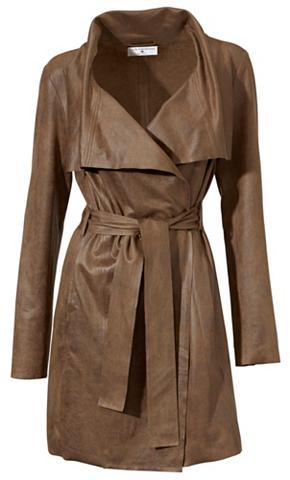 heine STYLE Dirbtinės odos paltas su surišamas dir...