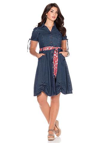 Džinsinė suknelė su sagos